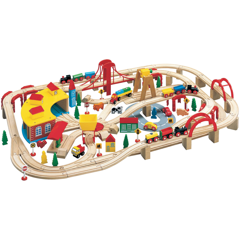 Wooden Train Play Set, 145-Piece
