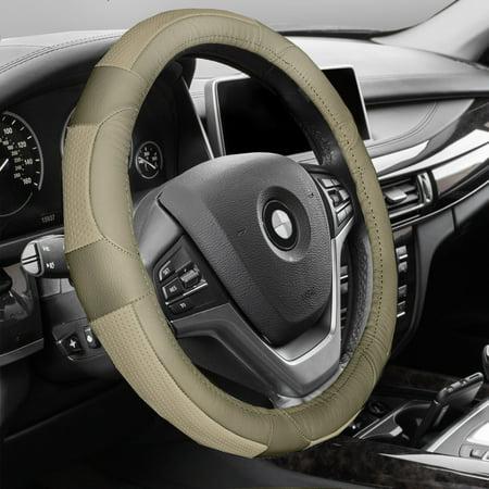 Premium Full Grain Leather - FH GROUP Premium Genuine Full Grain Leather Steering Wheel Cover, Solid Beige