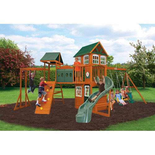 Big Backyard Hillcrest Wooden Play Swing Set