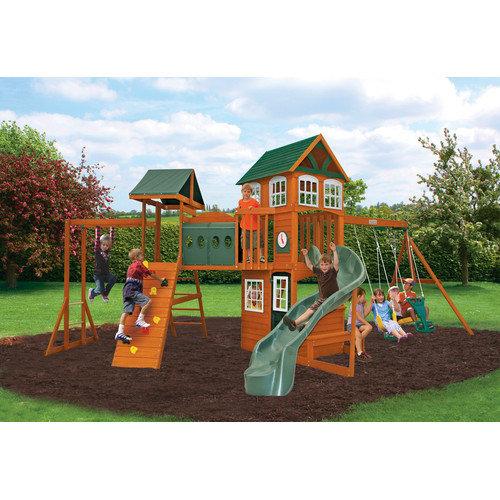 Big Backyard Hillcrest Wooden Play Swing Set