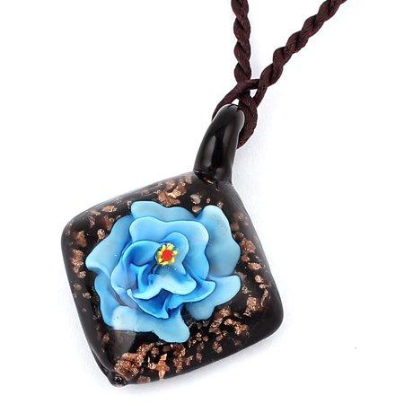Unique Bargains Glass Pressed Flower Square Shape Pendant Necklace Neckwear Sky Blue Black