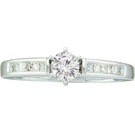 Dazzlingrock Collection 0.25 Carat (ctw) 14K Round & Princess Diamond Ladies Invisible Bridal Engagement Ring 1/4 CT, White -