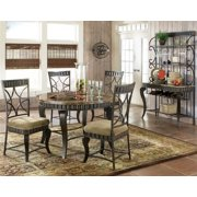 Hamlyn 6 Pc Marble Top Dining Table Set in Pewter Finish