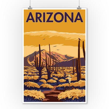 Arizona - Desert Scene with Cactus - Lantern Press Artwork (9x12 Art Print, Wall Decor Travel Poster)](Desert Scenes)