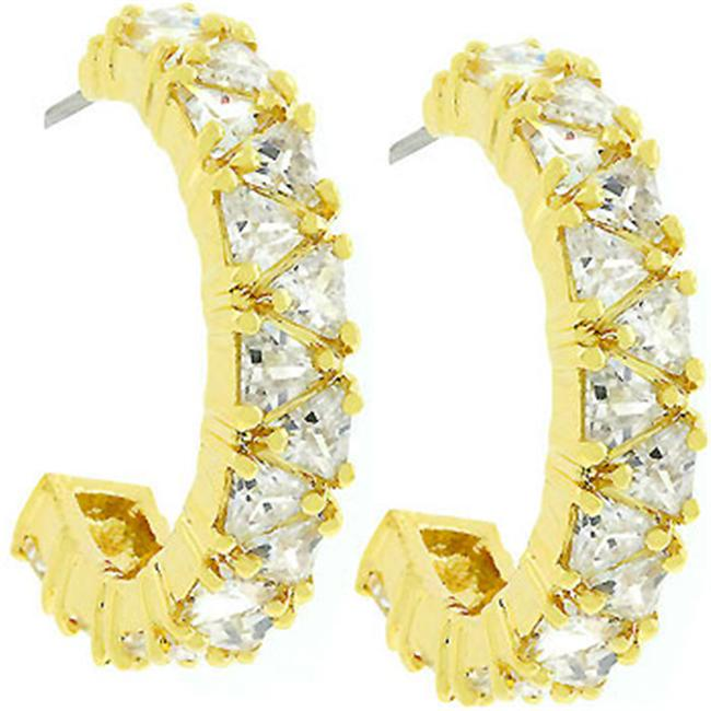 Kate Bissett E01663G-C01 18k Gold Plated Trillion Cut Clear CZ Hoop Earrings in Goldtone