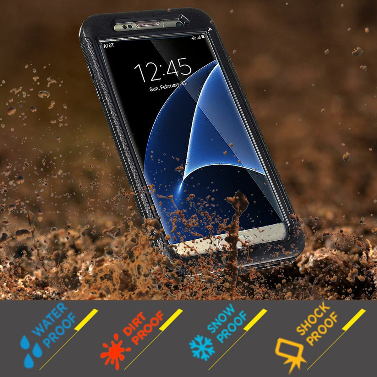 Galaxy S7/Edge Full Cover IP68 Waterproof Case Shockproof Snow Proof Underwater Up to 6 meters for Diving, Swimming
