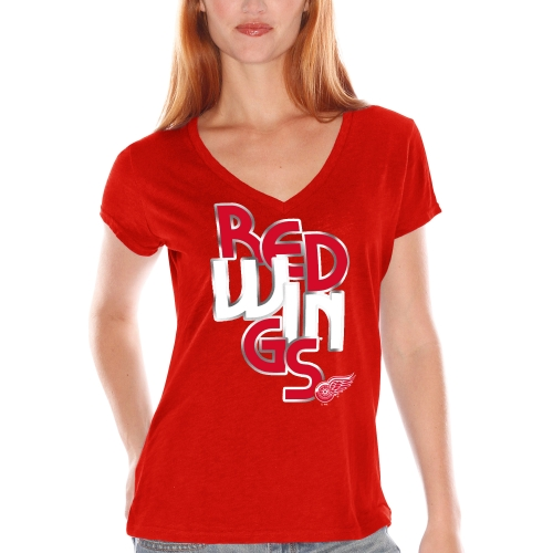 Detroit Red Wings Women's Foil Team Name V-Neck T-Shirt - Red