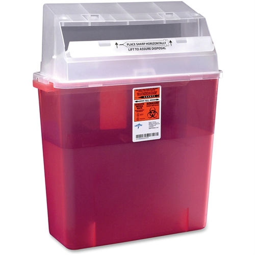 Medline Sharps Container for Patient Room, Plastic, 3gal, Rectangular, Red MDS705203H