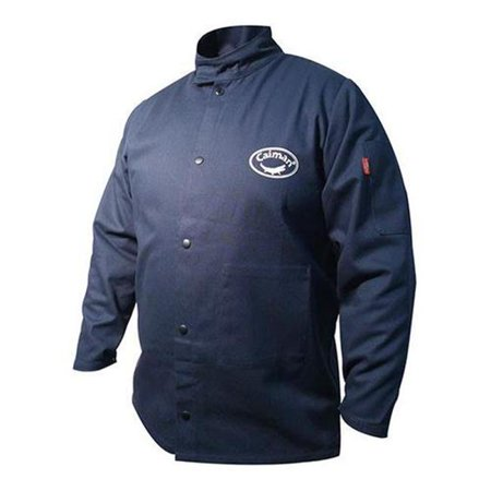 Caiman 607-3000-7 30 in. Flame Resistant Cotton Welding Jacket, Navy Blue - 2XL ()