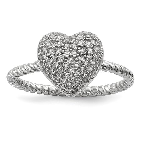 Sterling Silver Rhodium-plated CZ Heart Ring QR6534
