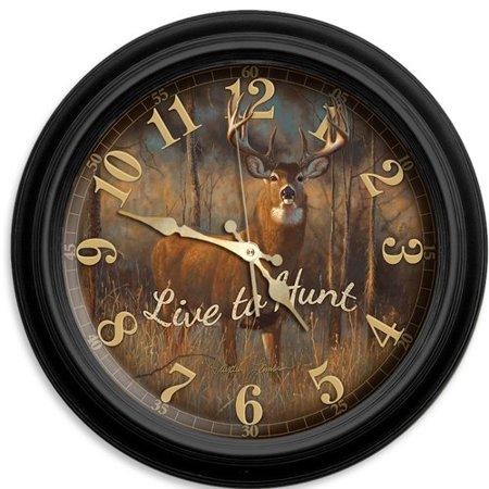 "Reflective Art Live to Hunt 16"" Classic Wall Clock"