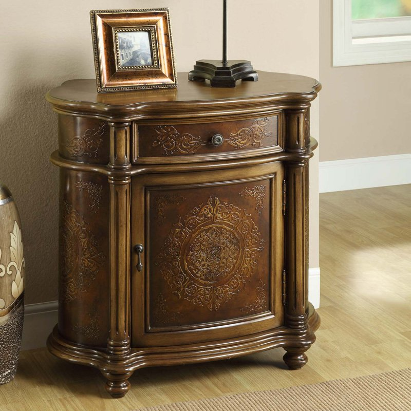 Monarch Traditional One Drawer Bombay Cabinet   Light Brown