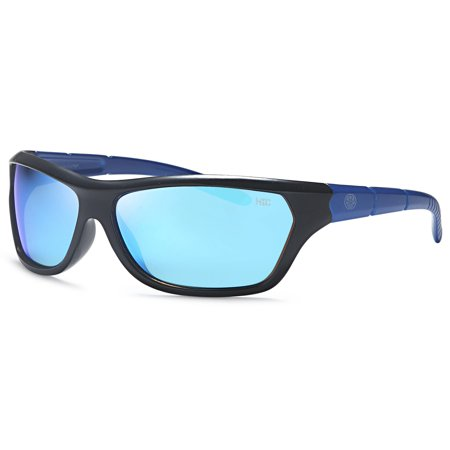 Hawaiian Island Creations Active Sport Style Kids Polarized Polycarbonate Sunglasses - Black Frame Blue Arms / Blue Revo Lenses ()