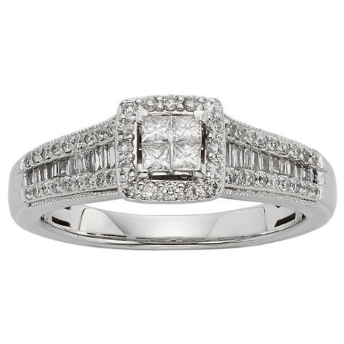 Sofia  10k White Gold 1/2ct TW Diamond Engagement Ring