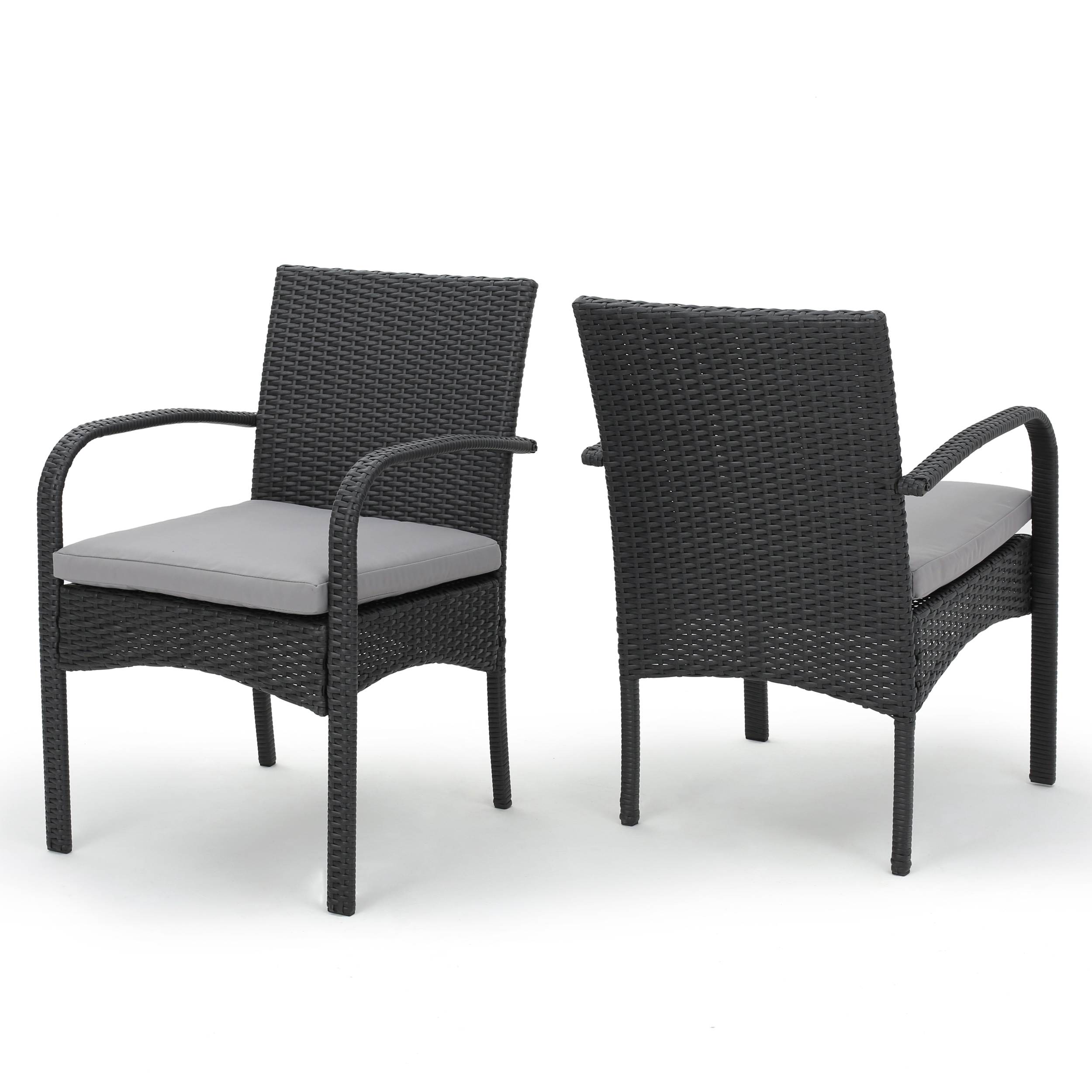 El Capitan Outdoor Wicker Dining Chairs with Cushions, Set of 2, Grey
