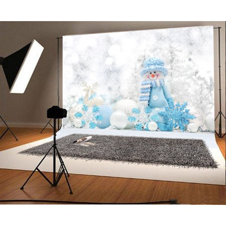 HelloDecor Polyster Winter Snowman Backdrop 7x5ft Photography Background Xmas Balls Decoration Snowflakes Festival Celebration Children Baby Kids Photos Video Studio Props