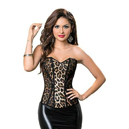 eb84e512658 Fourever Funky - Retro Leopard Animal Instinct Sexy Corset Lingerie Top -  Walmart.com