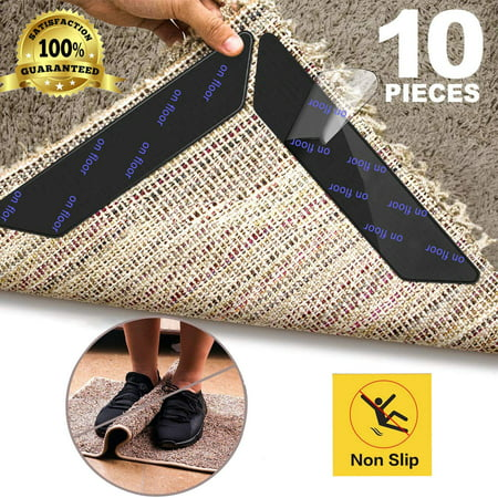 10 Pcs Anti Curling Carpet Tape Rug Grippers Non Slip Rug