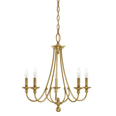 Aztec Lighting  Traditional 5-light Natural Brass Chandelier Early American Traditional Chandelier