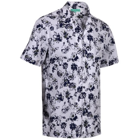 af26aace5 Mio Marino Mens Hawaiian Shirt - Funky Floral Shirt for Men - Short Sleeve Aloha  Shirt - Olive/Gray - Large
