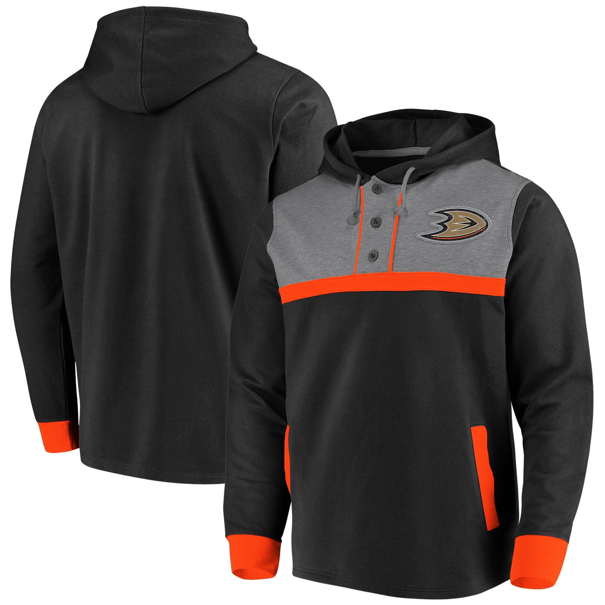 Anaheim Ducks Fanatics Branded True Classics 3-Button Pullover Hoodie - Black/Heathered Gray