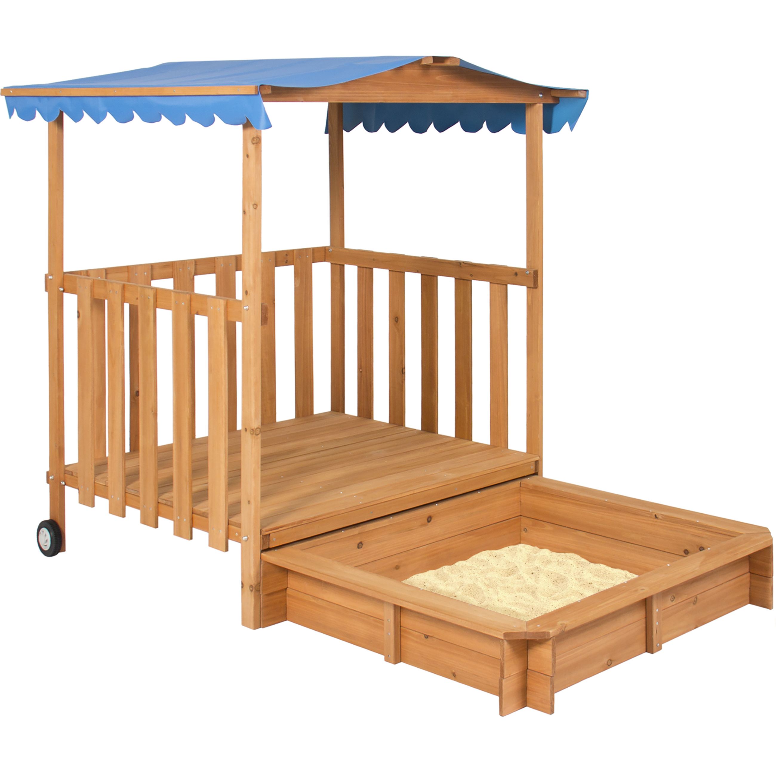 Kids Outdoor Retractable Playhouse Fort W/ Sandbox Childrens Play Area