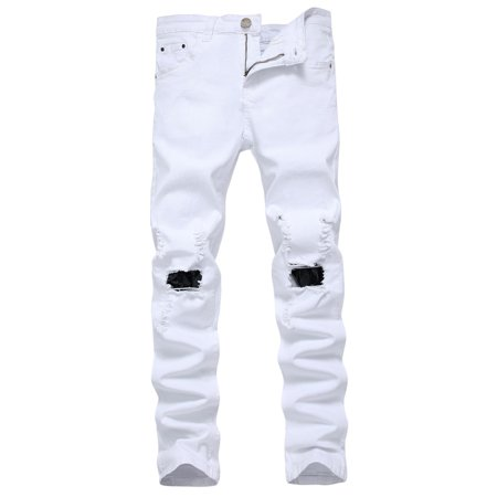 Ripped Straight Denim Jeans Mens Boys Destroyed Frayed Zipper Trousers Hip Hop Slim Fit Casual Pants Outwear Streetwear White -