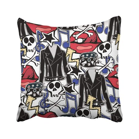 White Skull Star (BPBOP Colorful Punk Rock N Roll Accessories Music Drums Guitars Skulls Lips Stars Jackets White Pillowcase Pillow Cover 18x18 inches )