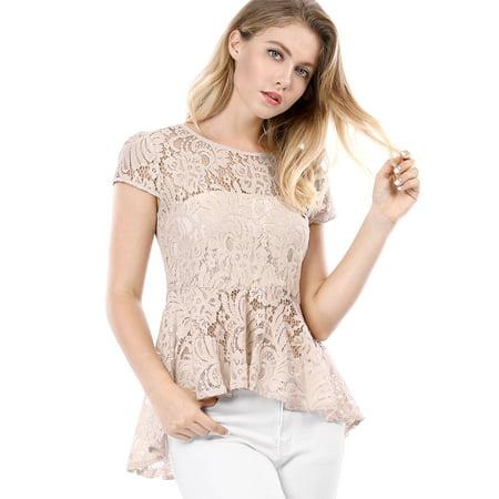Lace Cap Sleeve Top (Women's Cap Sleeves Asymmetrical Hem Lace A Line Peplum Top Blouse)