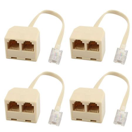 4Pcs RJ11 6P4C Male to 2 Ports Female Telephone Line Splitter Adapter Converter - image 3 de 3