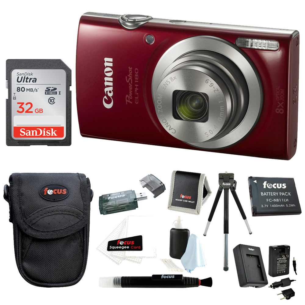 Canon PowerShot ELPH 180 Digital Camera (Red) with 32GB Accessory Bundle