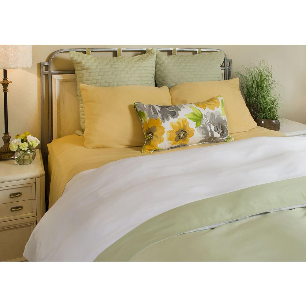 Rayon from Bamboo Reversible Full Duvet Cover in White / Sage [R]