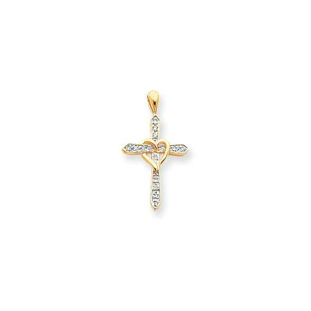 Solid 14k Yellow Gold AA Diamond Cross Pendant (18mm x 32mm) (.091ct.)