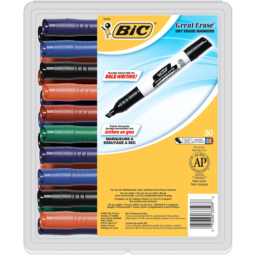 BIC Great Erase Grip Chisel Dry Erase Marker, Assorted Colors, 30-Pack