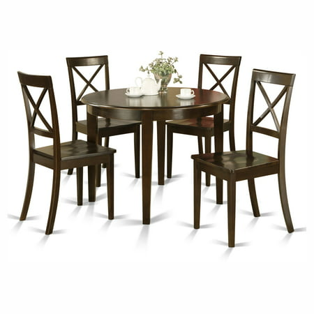 East West Furniture Boston 5 Piece Round Dining Table Set with Wooden Seat Chairs ()