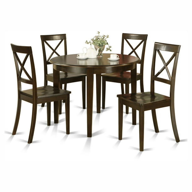 East West Furniture Boston 5 Piece, Round Dinner Table Set