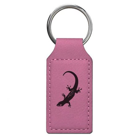 Keychain - Gecko - Personalized Engraving Included (Pink Rectangle)