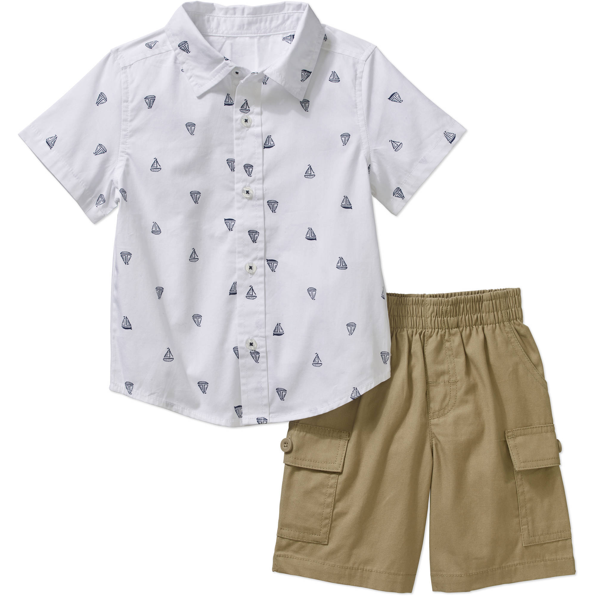Healthtex Baby Toddler Boy Short Sleeve Button Down Shirt and Cargo Short 2-piece Outfit Set