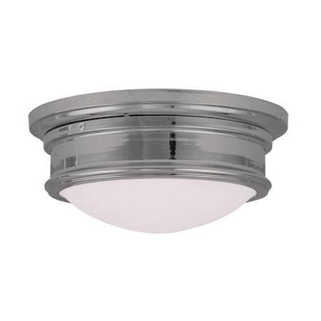 Satin White Flush (Semi Flush Mounts 2 Light With Hand Blown Satin White Glass Chrome Finish size 13 in 120 Watts - World of Crystal )