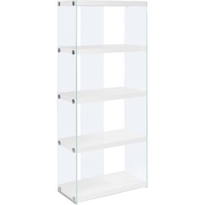 monarch bookcase 60h glossy white with tempered glass - Glass Covered Bookshelves