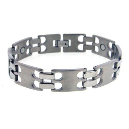 Magnetic Therapy Mens Hydrogen Staple Link Titanium Metal Jewelry Bracelet   8 5