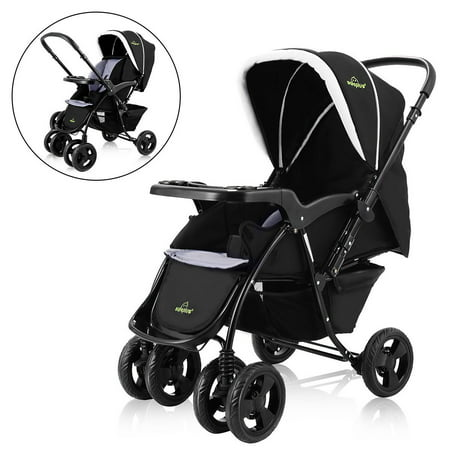 Positioning Push Chair - Two Way Foldable Baby Kids Travel Stroller Newborn Infant Pushchair Buggy Black