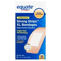 Equate Antibacterial Strong Strips Bandages, X-Large, 10 Count