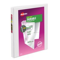 "Avery Durable View 3 Ring Binder, 0.5"" Slant Rings, 1 White Binder"