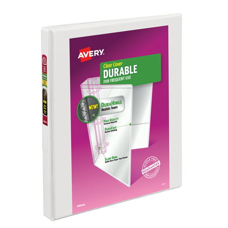 "Avery 0.5"" Durable View Binder, Slant Ring, White, 120 Sheets"