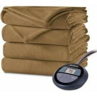 Sunbeam Electric Heated Velvet Plush Blanket, Twin Acorn
