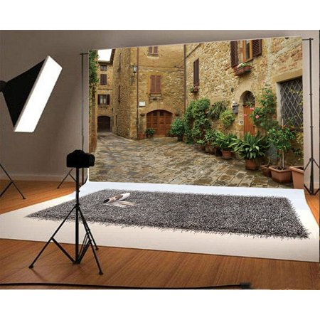 GreenDecor Polyster 7x5ft Italy Narrow Street Backdrop Green Plants Fresh Flowers Ancient Brick Stone House Grunge Floor Nature Travel Photography Background Kids Adults Photo Studio