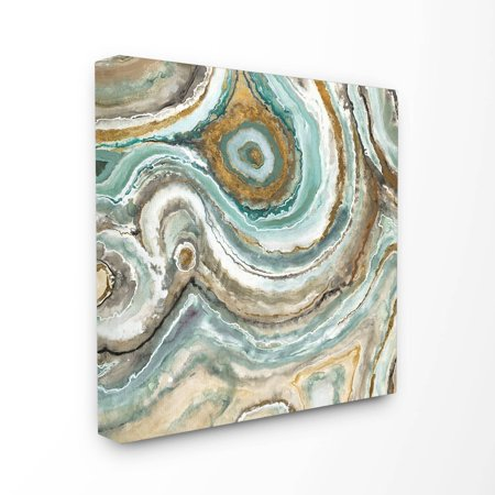 stupell home dcor aqua geode stone stretched canvas wall art, 17 x 1.5 x 17, proudly made in