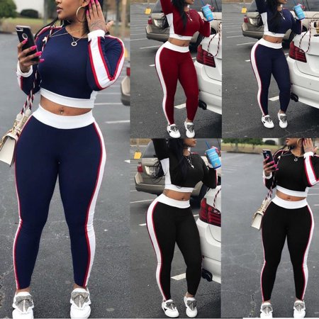 2Pcs Women Ladies Tracksuit Hoodies Sweatshirt Tops+Pants Sport Wear Casual Suit (Red Adidas Tracksuit Women)