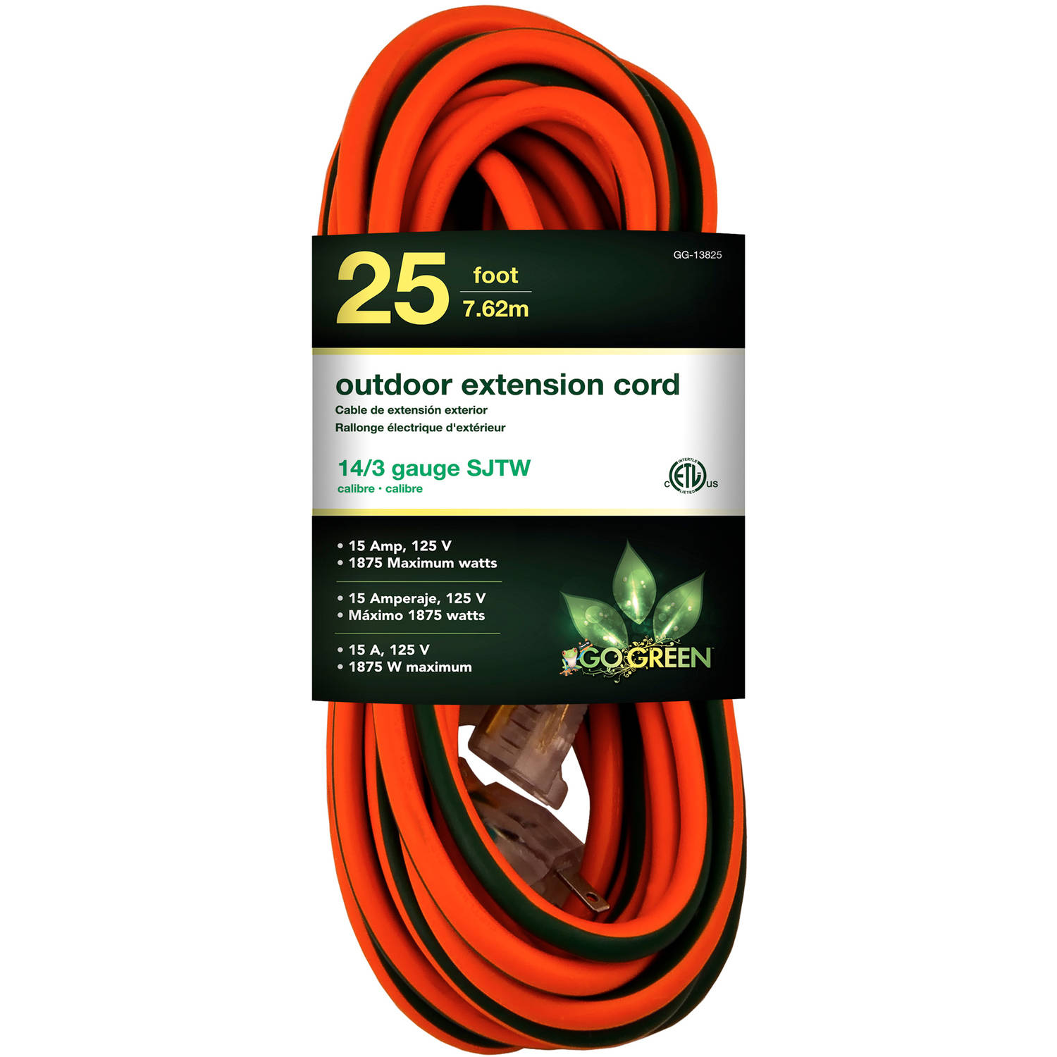 GoGreen Power 13825 14/3 25' Heavy-Duty Extension Cord, Lighted End
